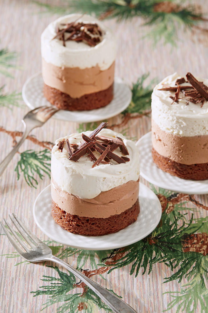 Triple Chocolate Brownie-Mousse Stacks