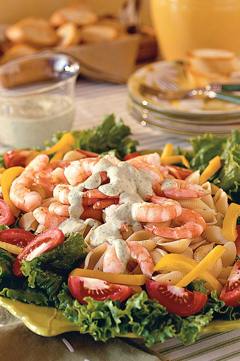 Shrimp Pasta Salad with Green Goddess Dressing