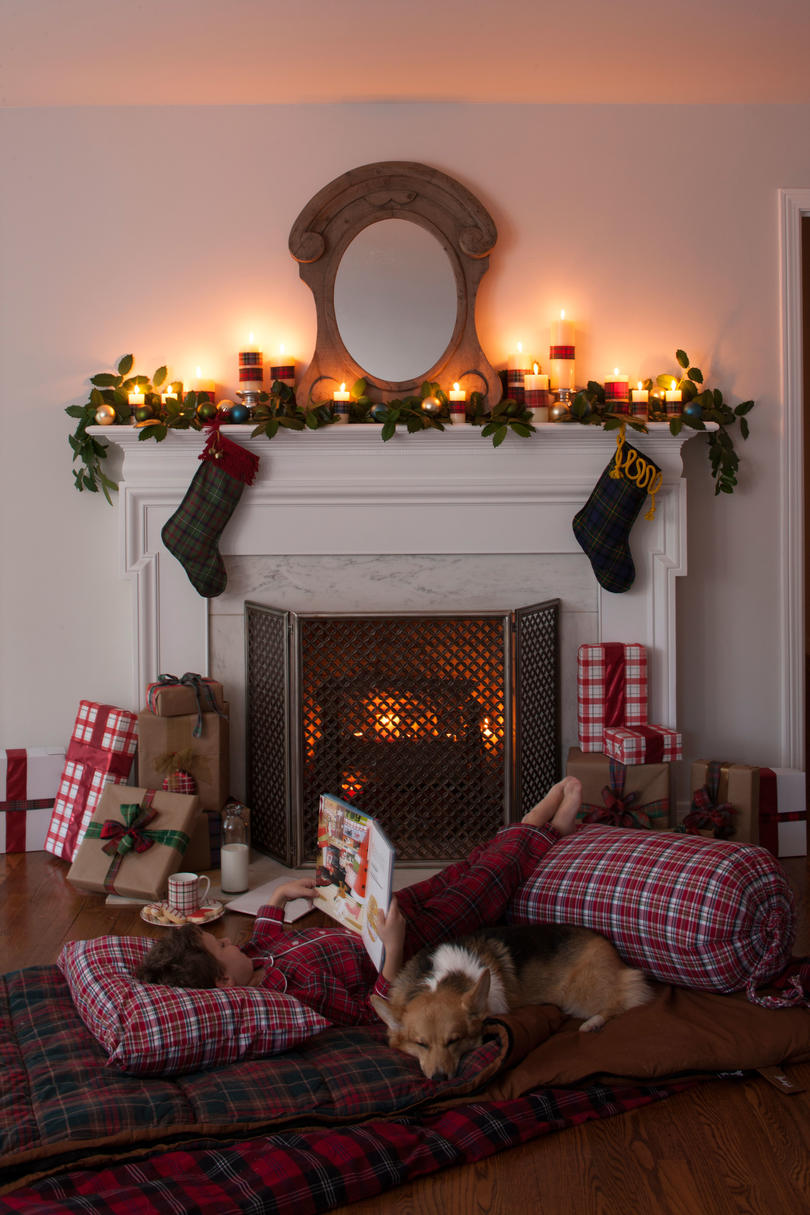 Plaid Inspired Holiday Hearth