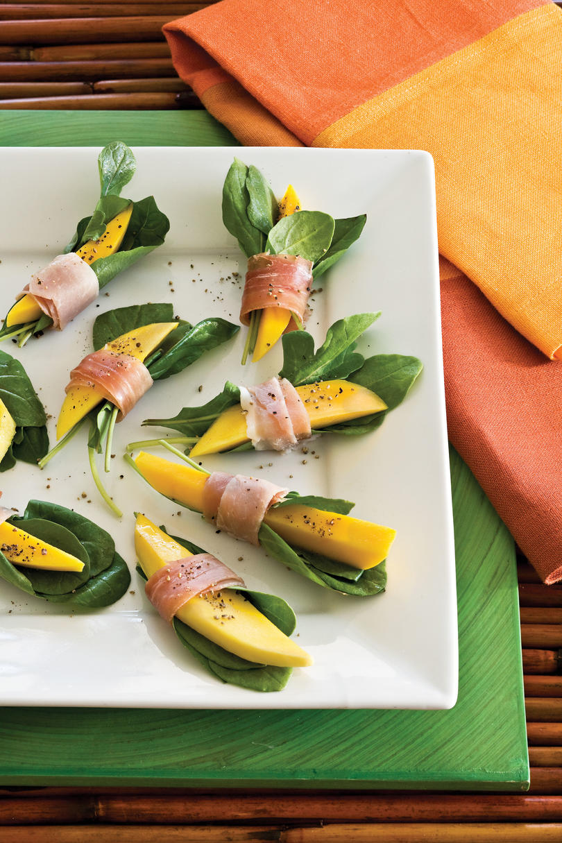 Quick and easy appetizer recipes southern living healthy food recipe prosciutto wrapped mango bites forumfinder Image collections