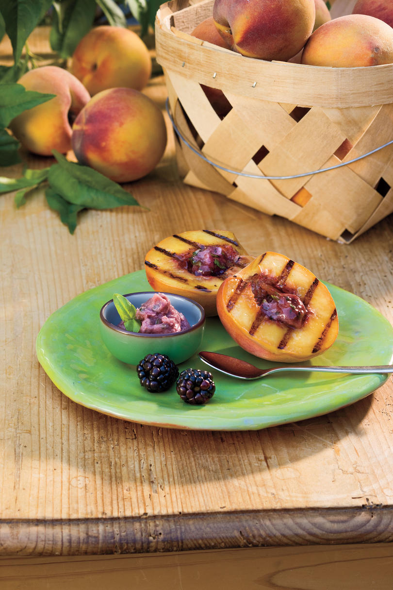 Summer Peach Recipes: Grilled Peaches with Blackberry-Basil Butter