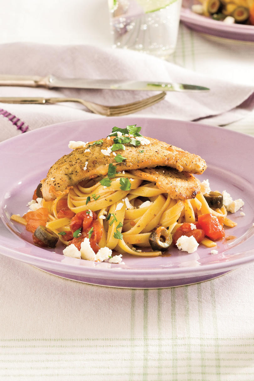 Easy Turkey Recipes: Mediterranean Turkey Cutlets and Pasta