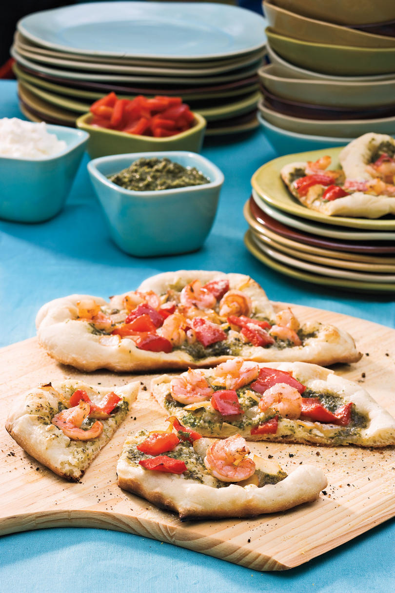 Easy, Healthy Seafood Recipes: Shrimp-Pesto Pizza