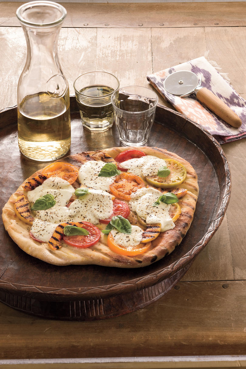 Pizza Recipes: Grilled Tomato-Peach Pizza