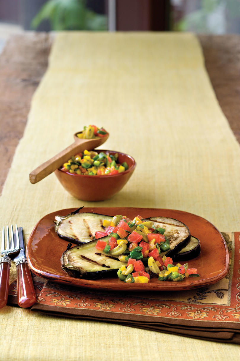 Grilled Eggplant with Sweet Pepper-Tomato Topping
