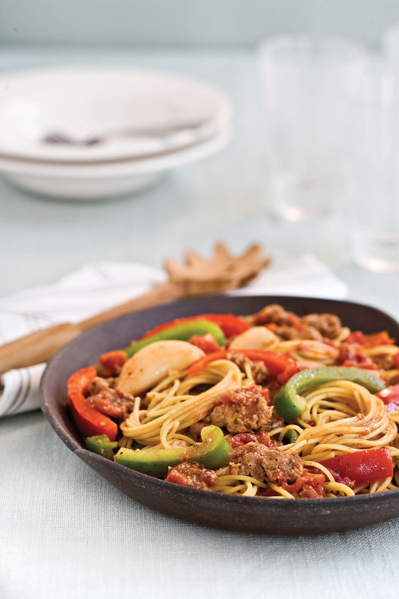 Easy pasta dinner recipes southern living easy pasta recipes spaghetti with sausage and peppers forumfinder Image collections