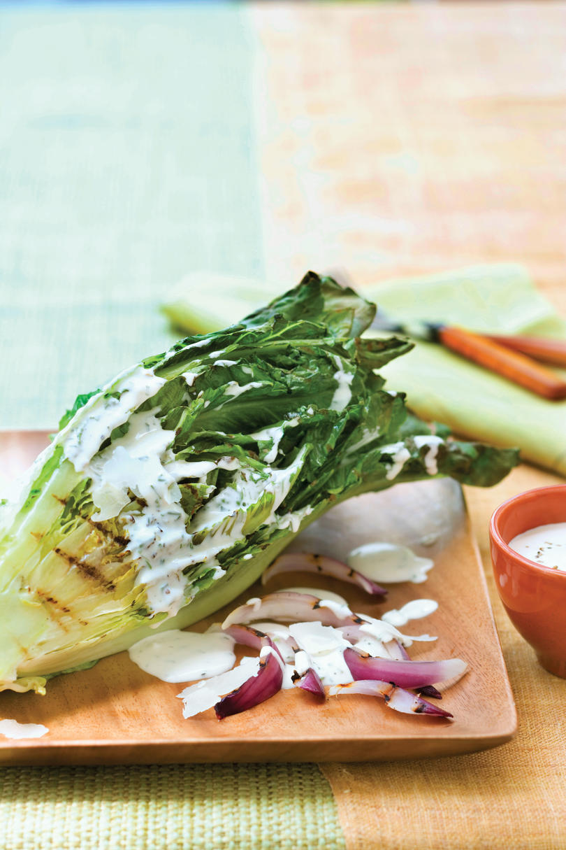 Vegetarian Grilling Recipes: Grilled Romaine Salad with Buttermilk-Chive Dressing