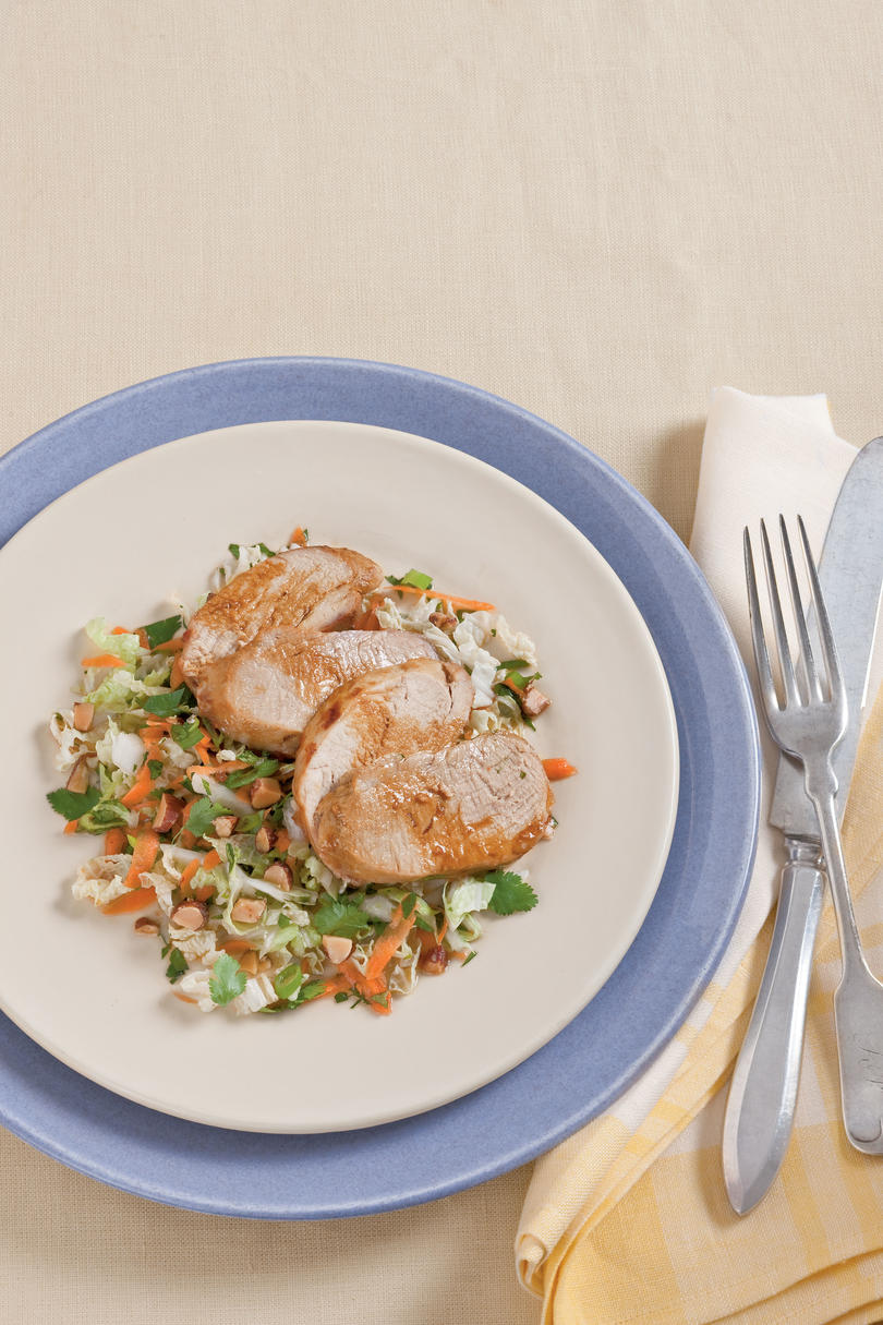 Roasted Sesame Pork Tenderloin with Asian Slaw