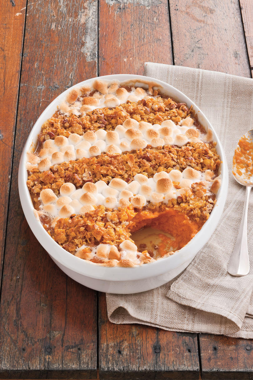 Cornflake, Pecan, and Marshmallow Topped Sweet Potato Casserole