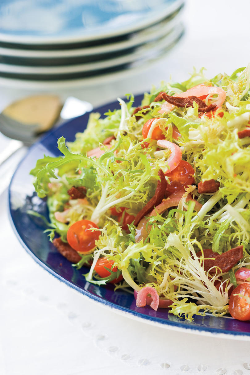 Warm Frisée Salad With Crispy Kosher Salami
