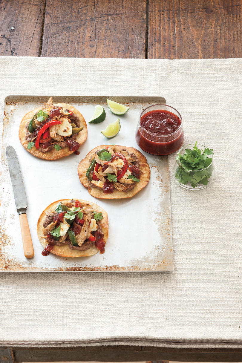 Turkey Tostadas with Spicy Cranberry-Chipotle Sauce