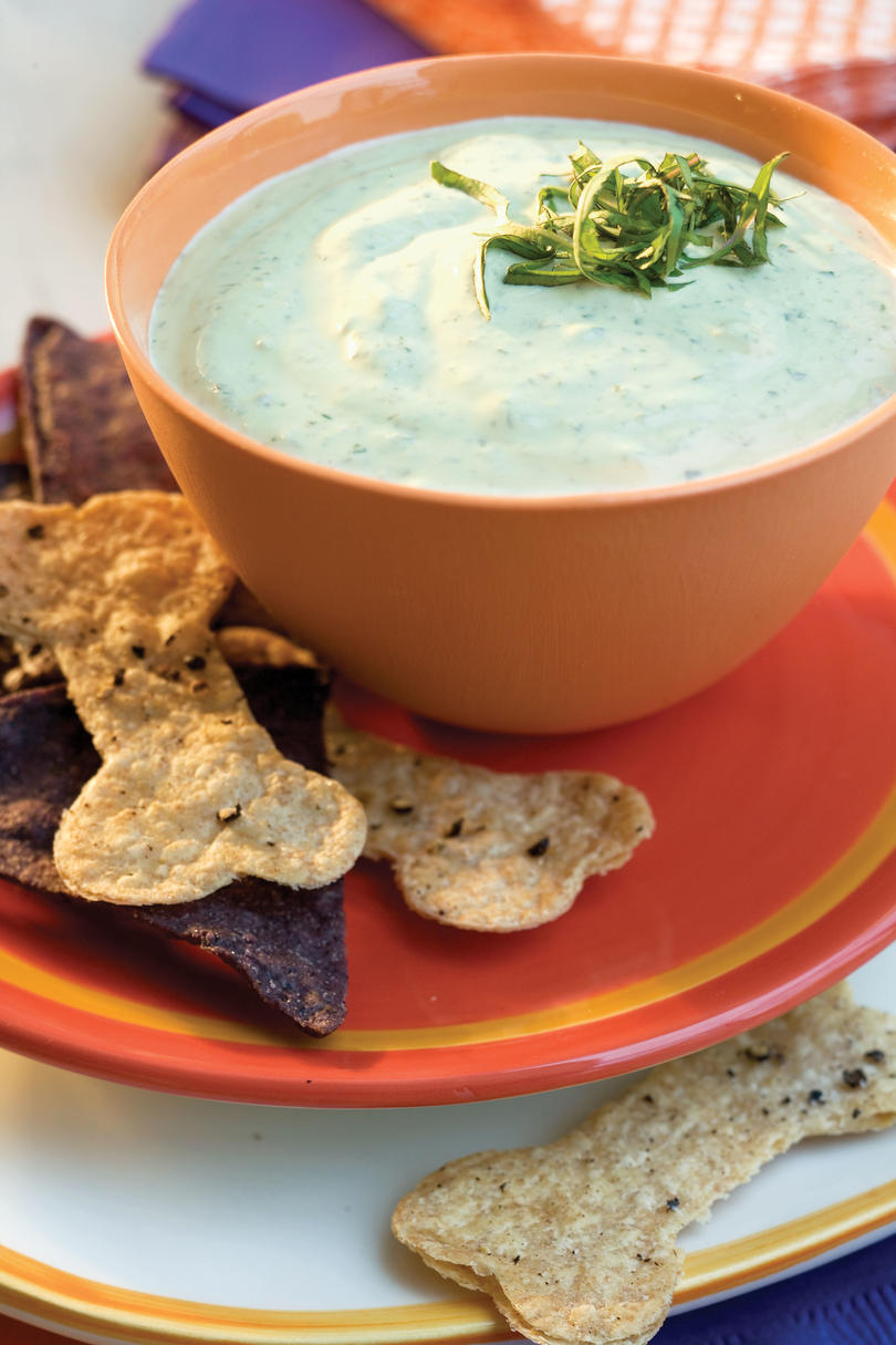 Green Dip with Spooky Chips