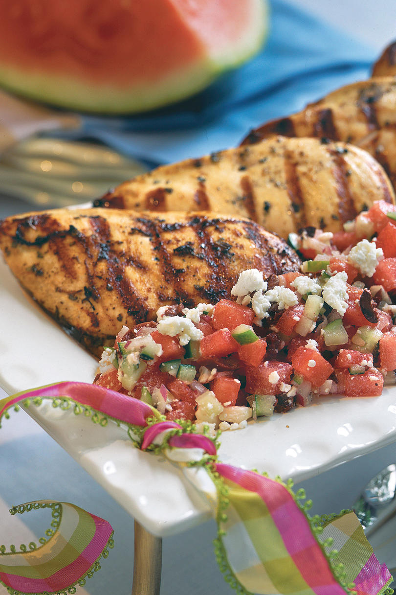 Herb-Grilled Chicken With Watermelon-Feta Salad