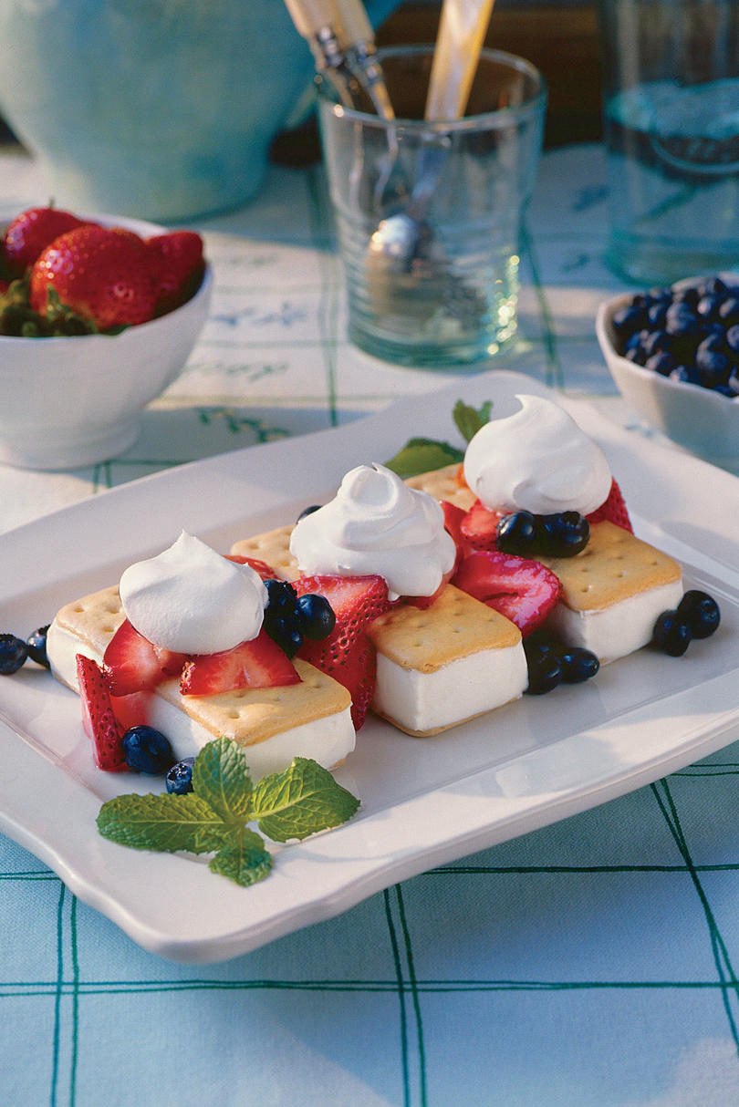 Strawberry-Blueberry Shortcake Ice-Cream Sandwiches