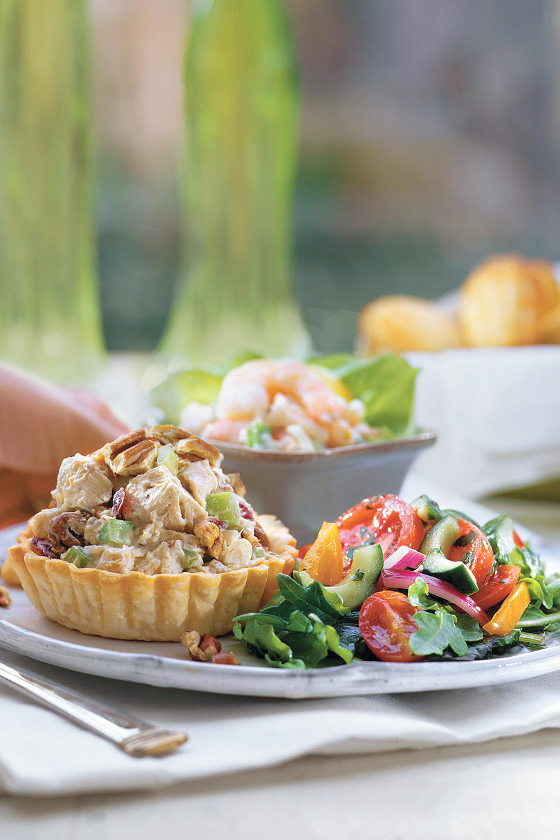 Honey-Chicken Salad, Shrimp Salad, and Tomato & Cucumber Salad