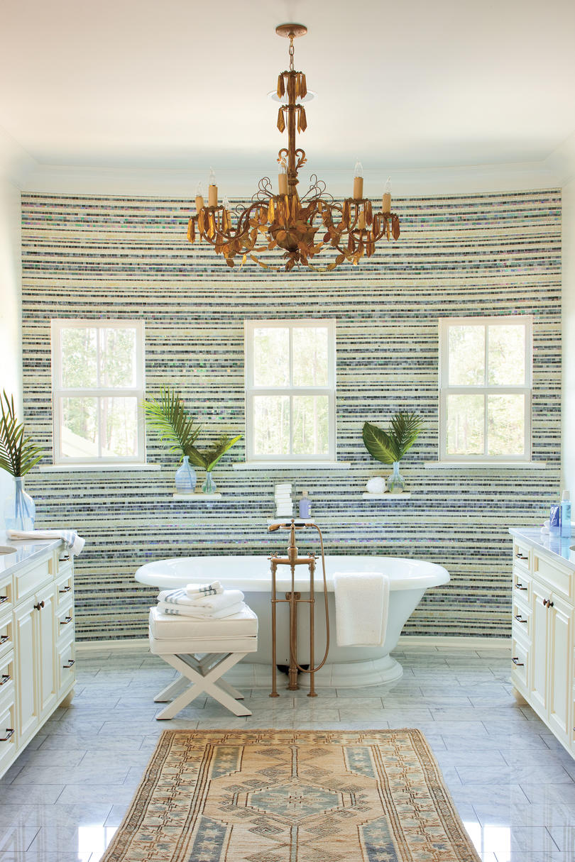 Glass Tiled Master Bathroom