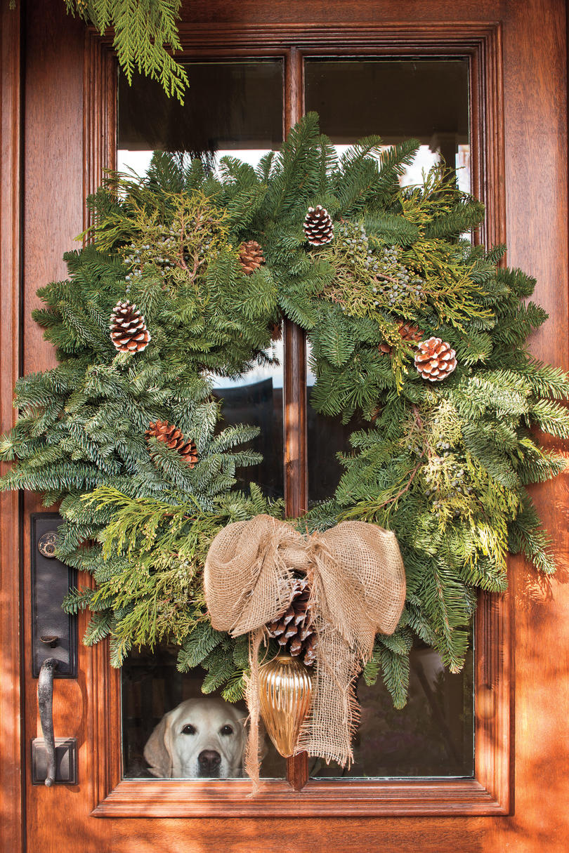 Wood Front Door with Cedar Wreath