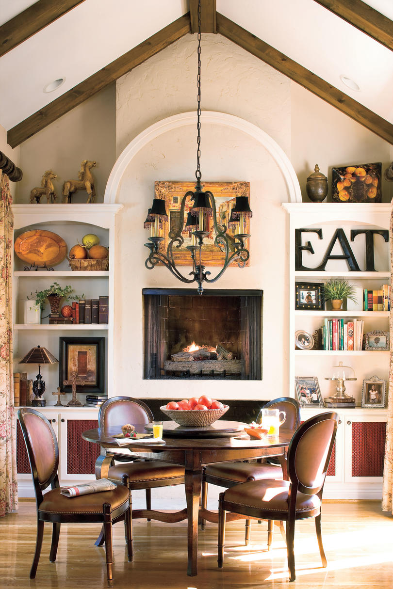 Light collaborating with wooden materials in the living dinning room - Raise The Fireplace