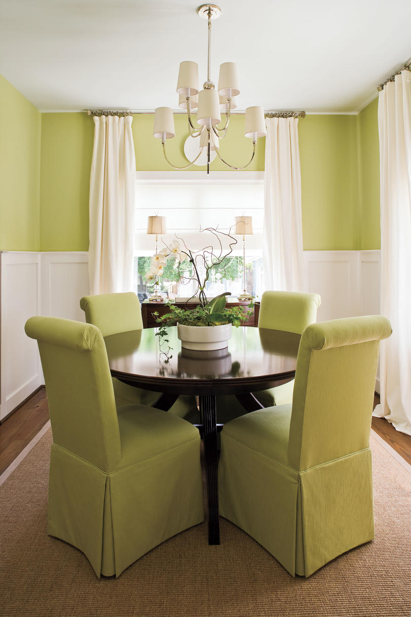 Green dining room design - Make A Small Dining Room Look Larger