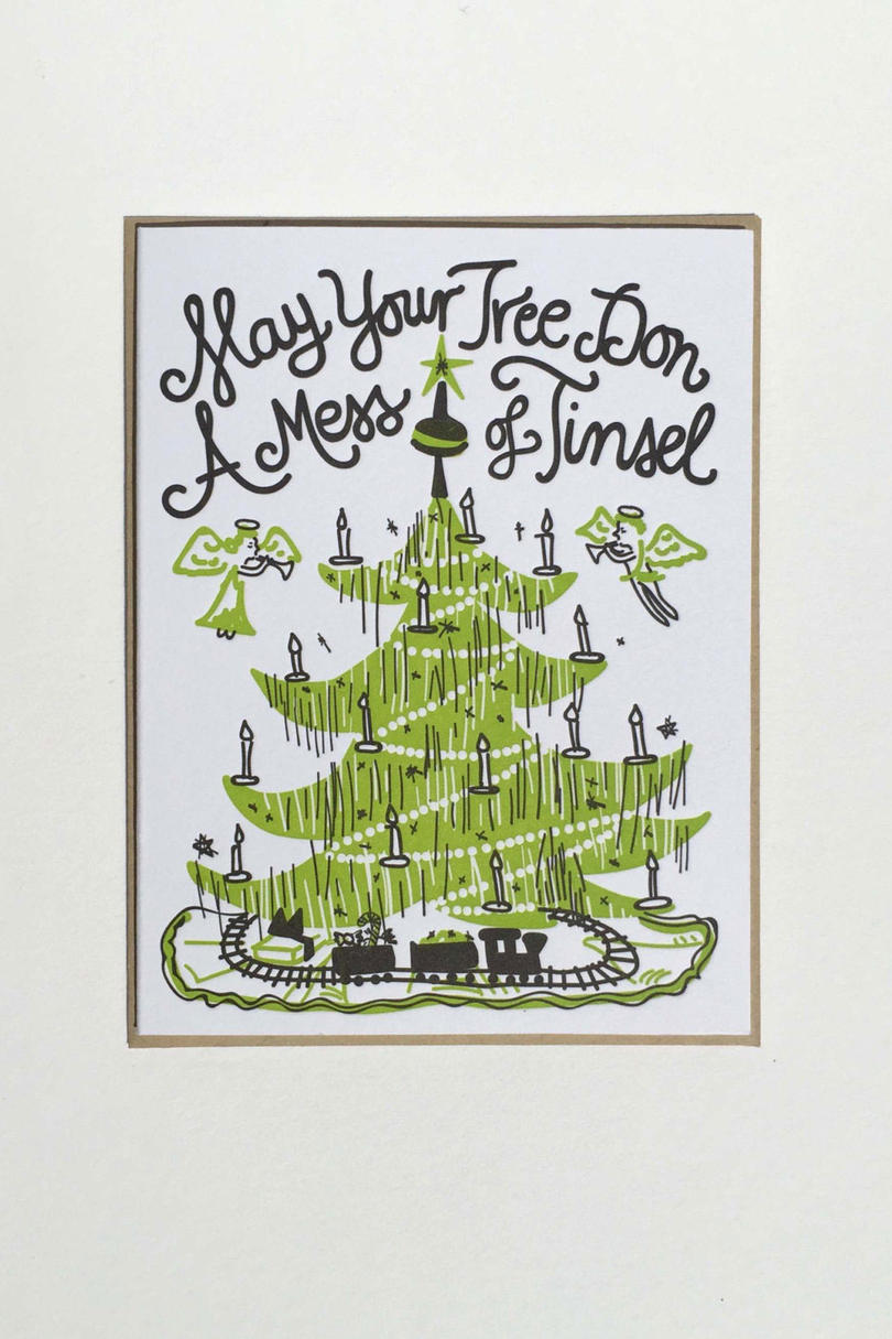 """Mess of Tinsel"" Letterpress Card"