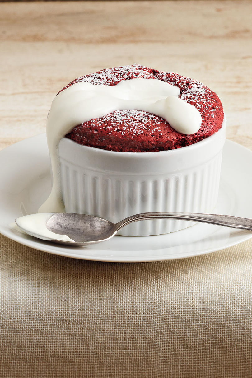 Red Velvet Souffles with Whipped Sour Cream
