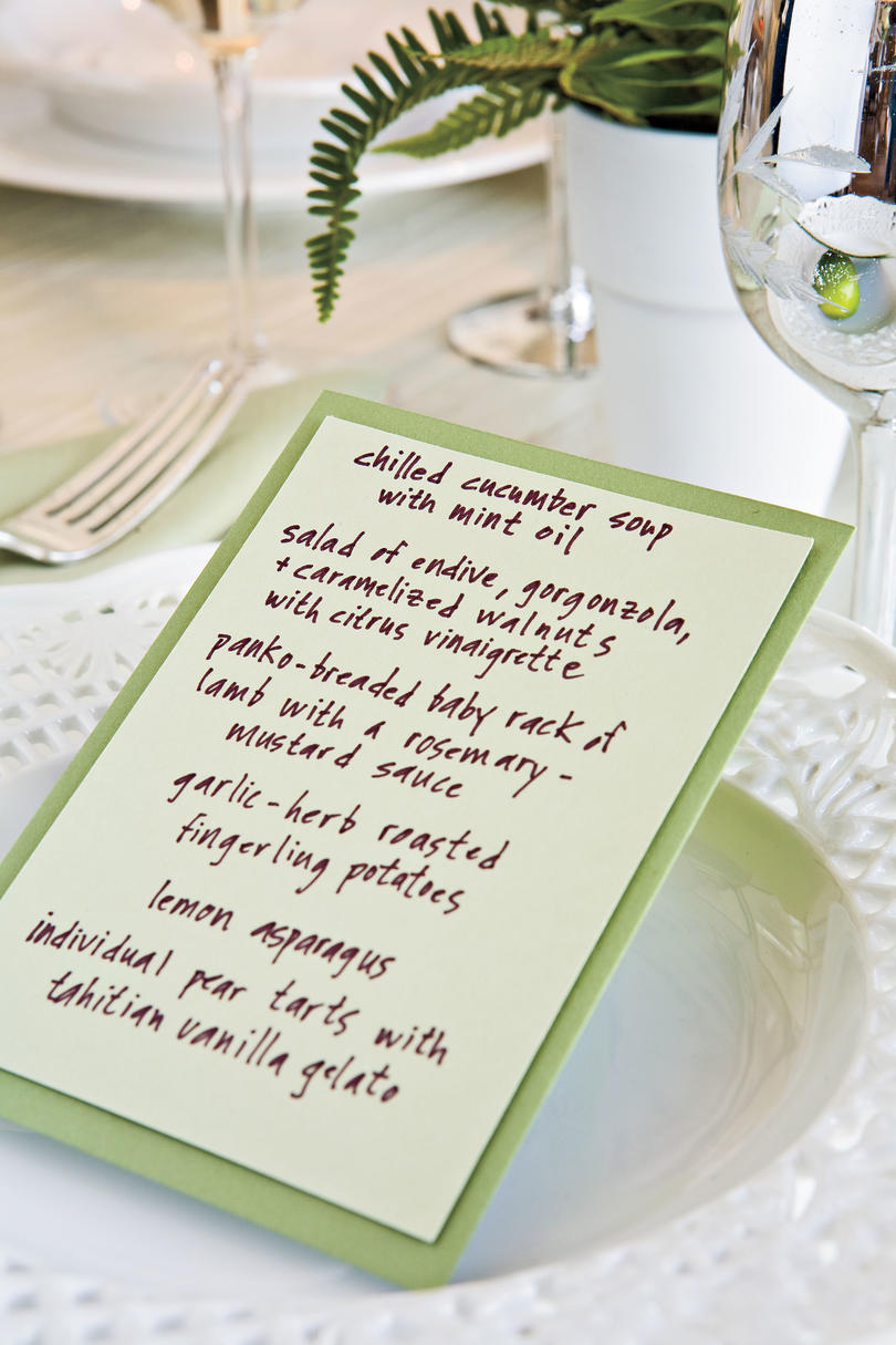 Table Place Settings for Entertaining: Add Color with Menu Cards