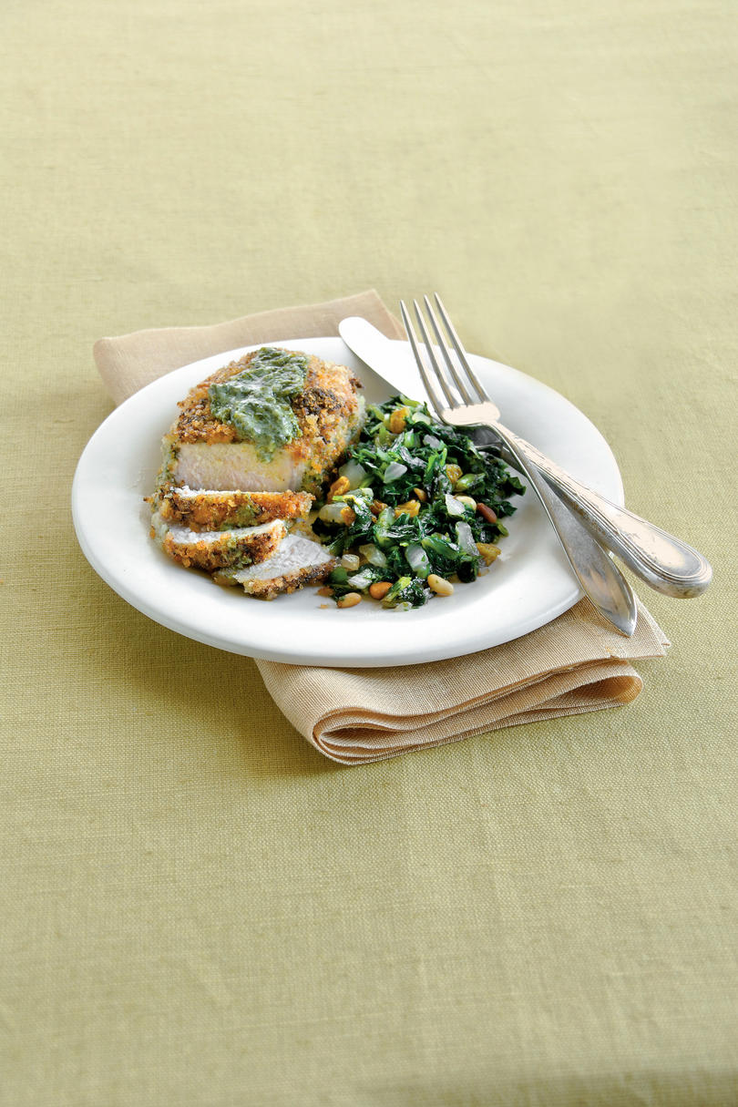 SeptemberPesto-Crusted Pork Chops with Sweet-and-Sour Collards