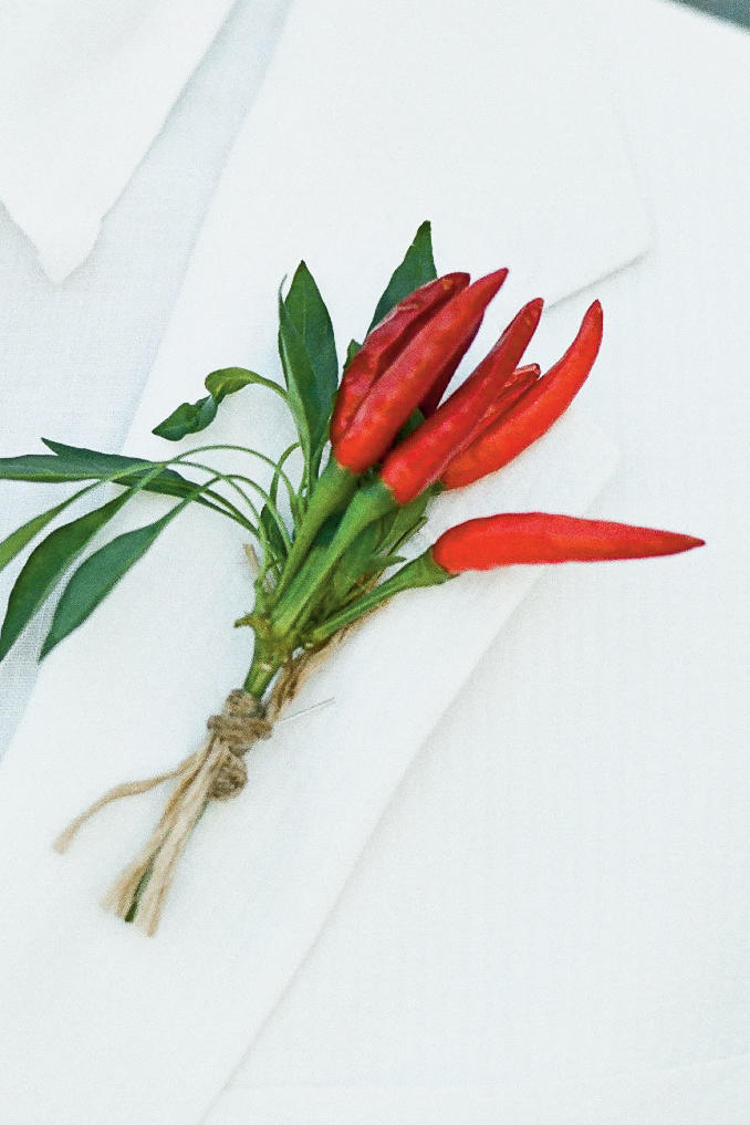 Ornamental Peppers Boutonniere