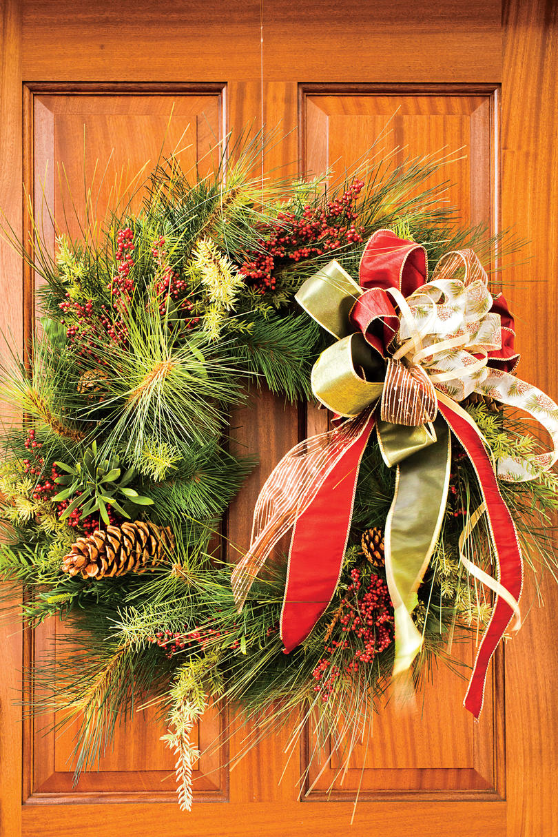 Christmas Wreath with Gold and Red Bow