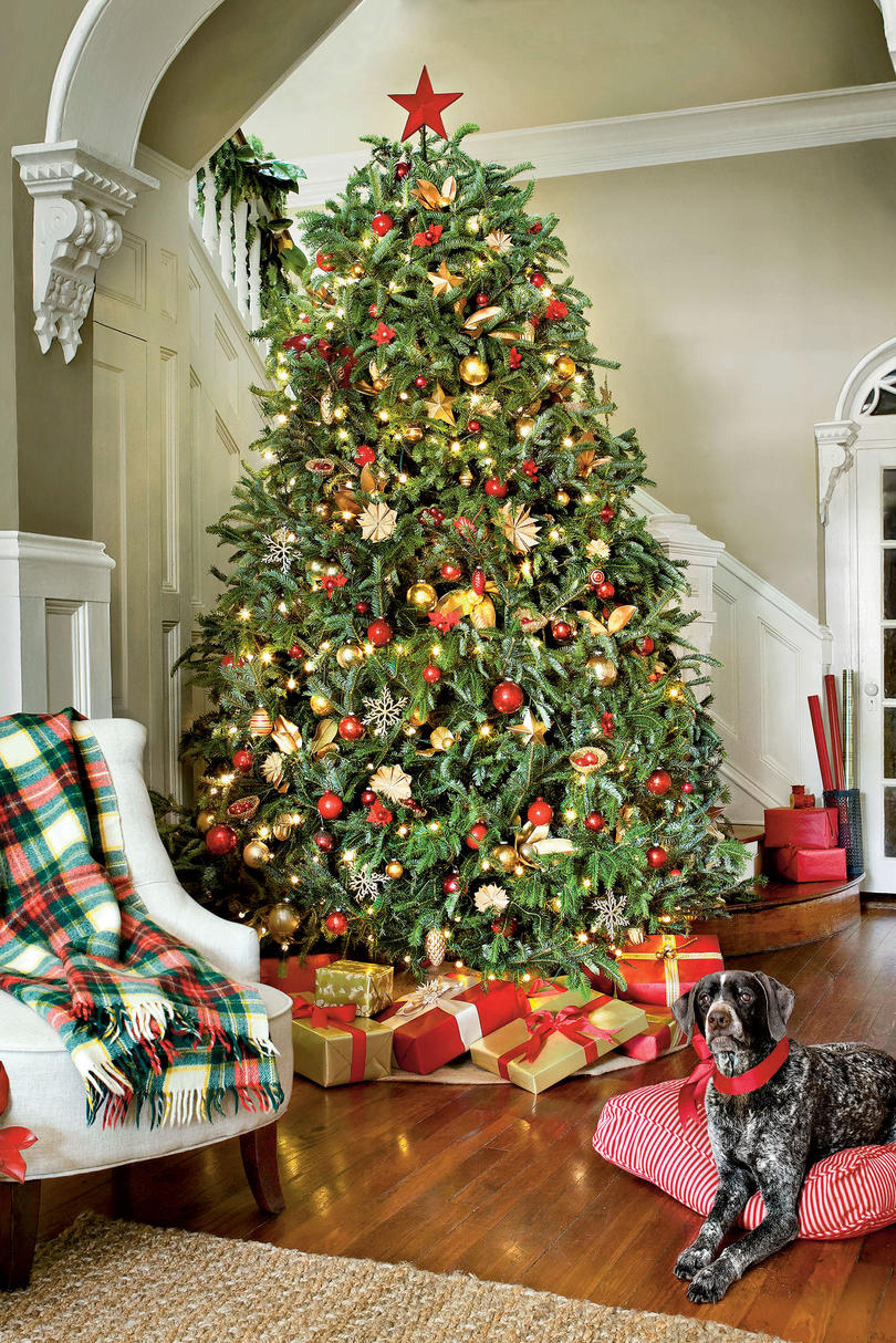 White christmas tree with red and gold decorations - Christmas Tree Decorating Ideas