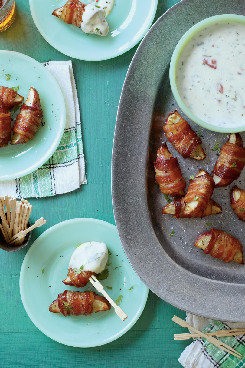 Bacon-Wrapped Potatoes with Queso Blanco Dip