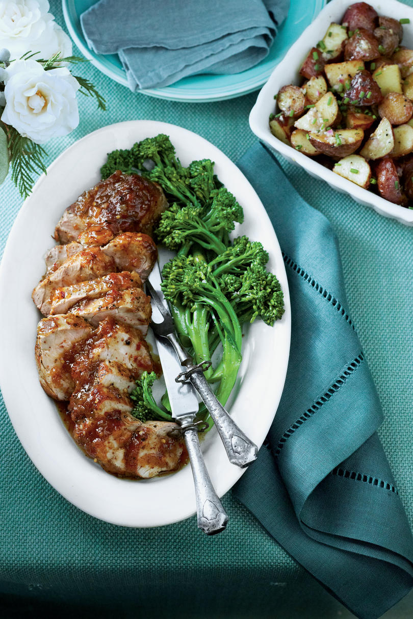 Peach-Mustard-Glazed Pork Tenderloin