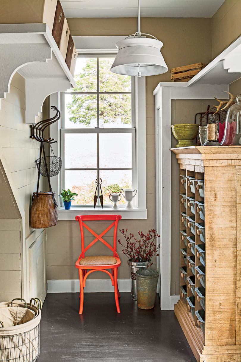 Smart cottage style home southern living budget savvy solution overhead shelves amipublicfo Gallery