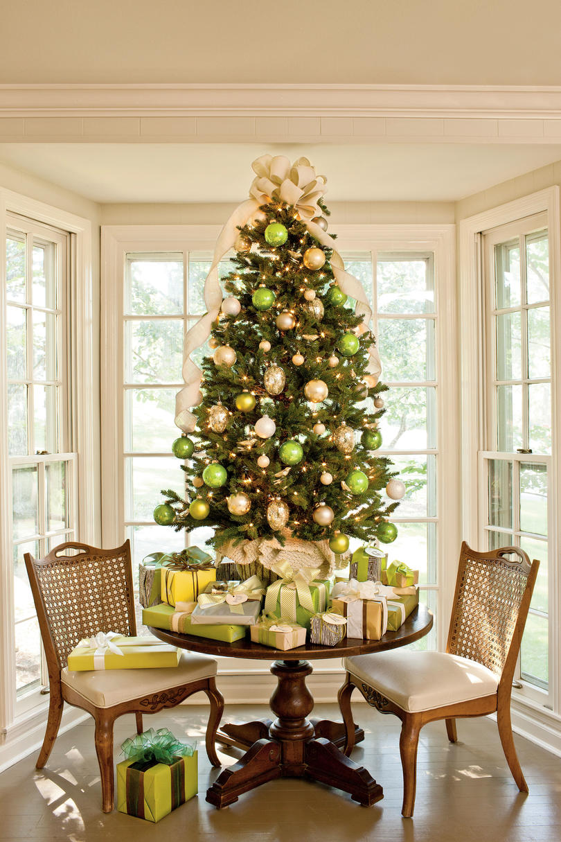 green gold tabletop tree - Green Christmas Tree Decorations