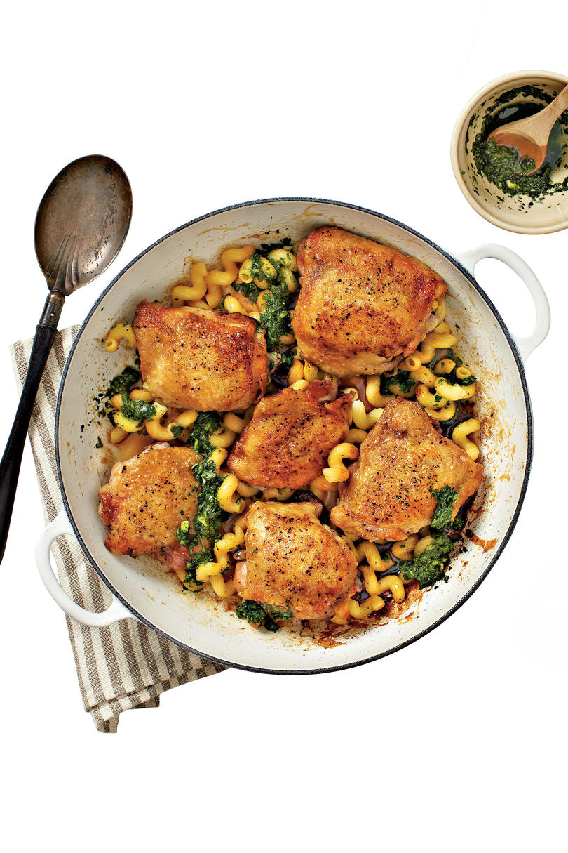 Crispy Chicken Thighs with Pasta and Pesto Recipe