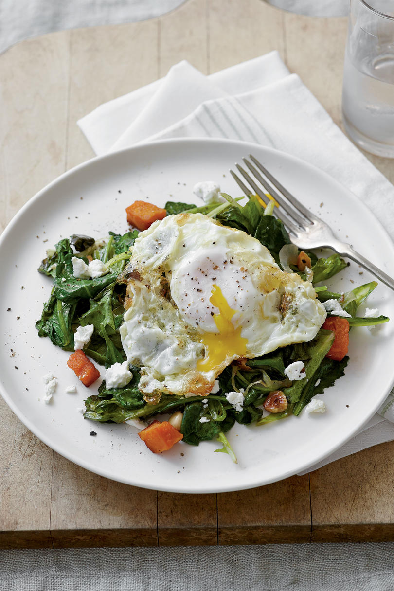Sautéed Greens with Olive Oil-Fried Eggs