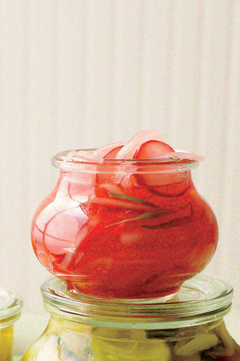 Bread-and-Butter Pickled Onions with Radishes