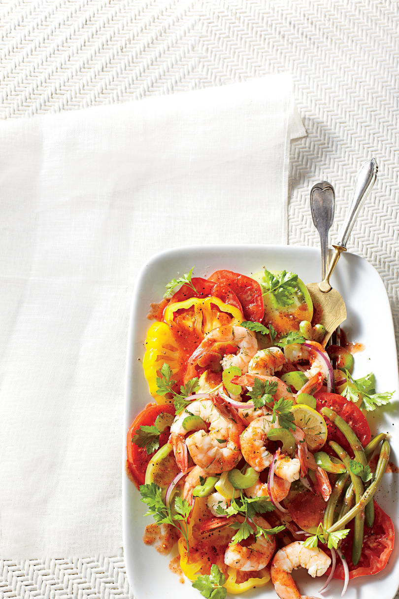 Monday Bloody Mary Tomato Salad with Quick Pickled Shrimp Recipe