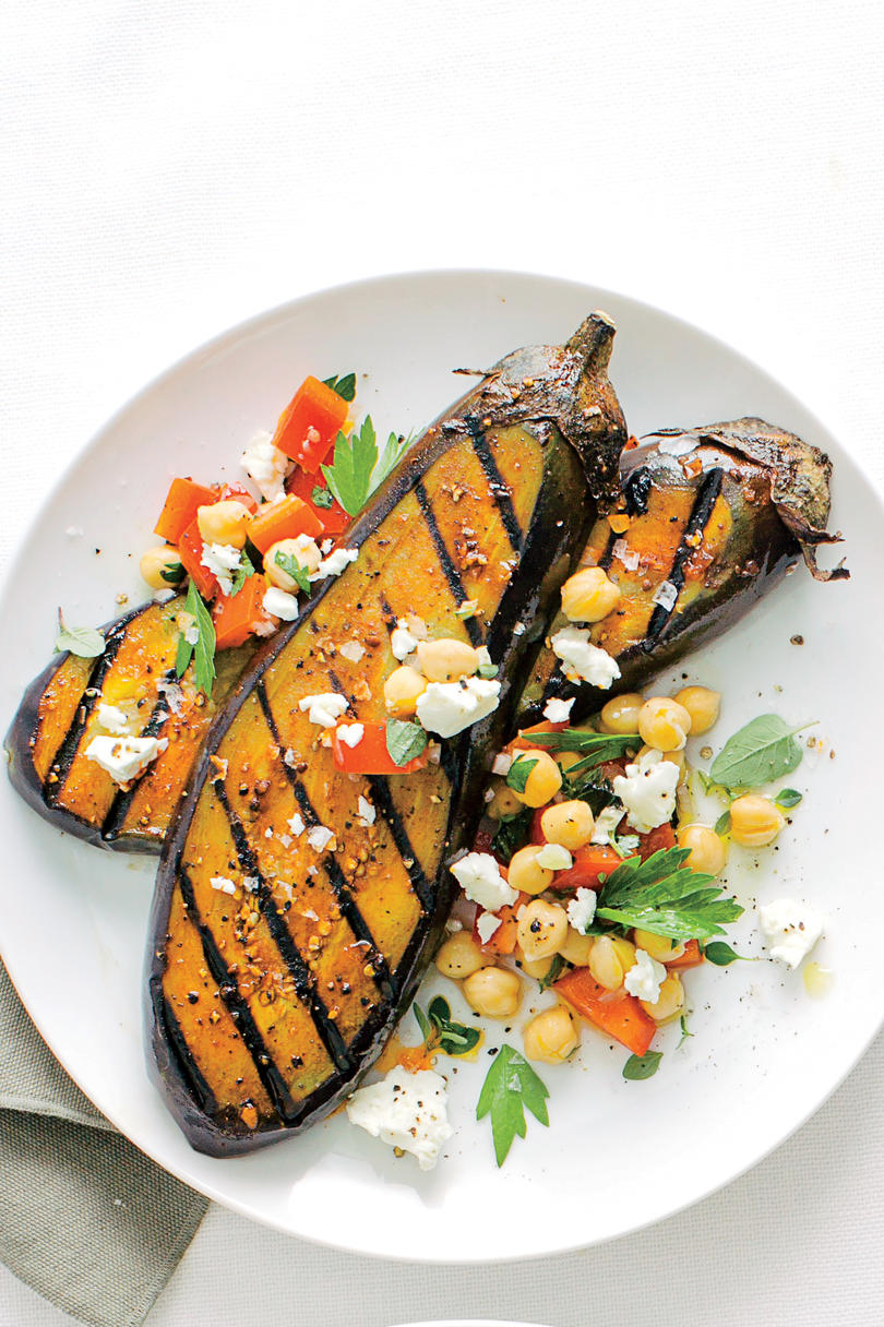 Spiced Eggplant Cutlets with Chickpea-Feta Salad