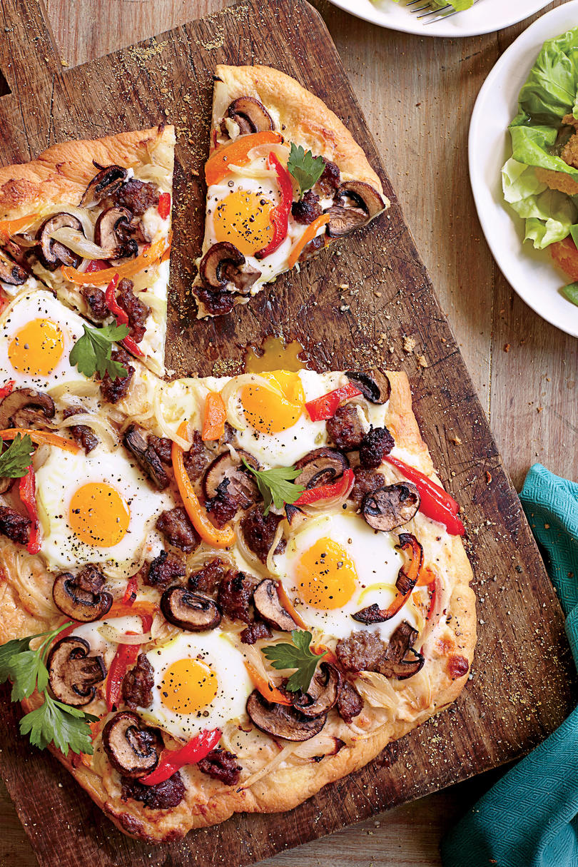Breakfast Sausage-Egg Pizza