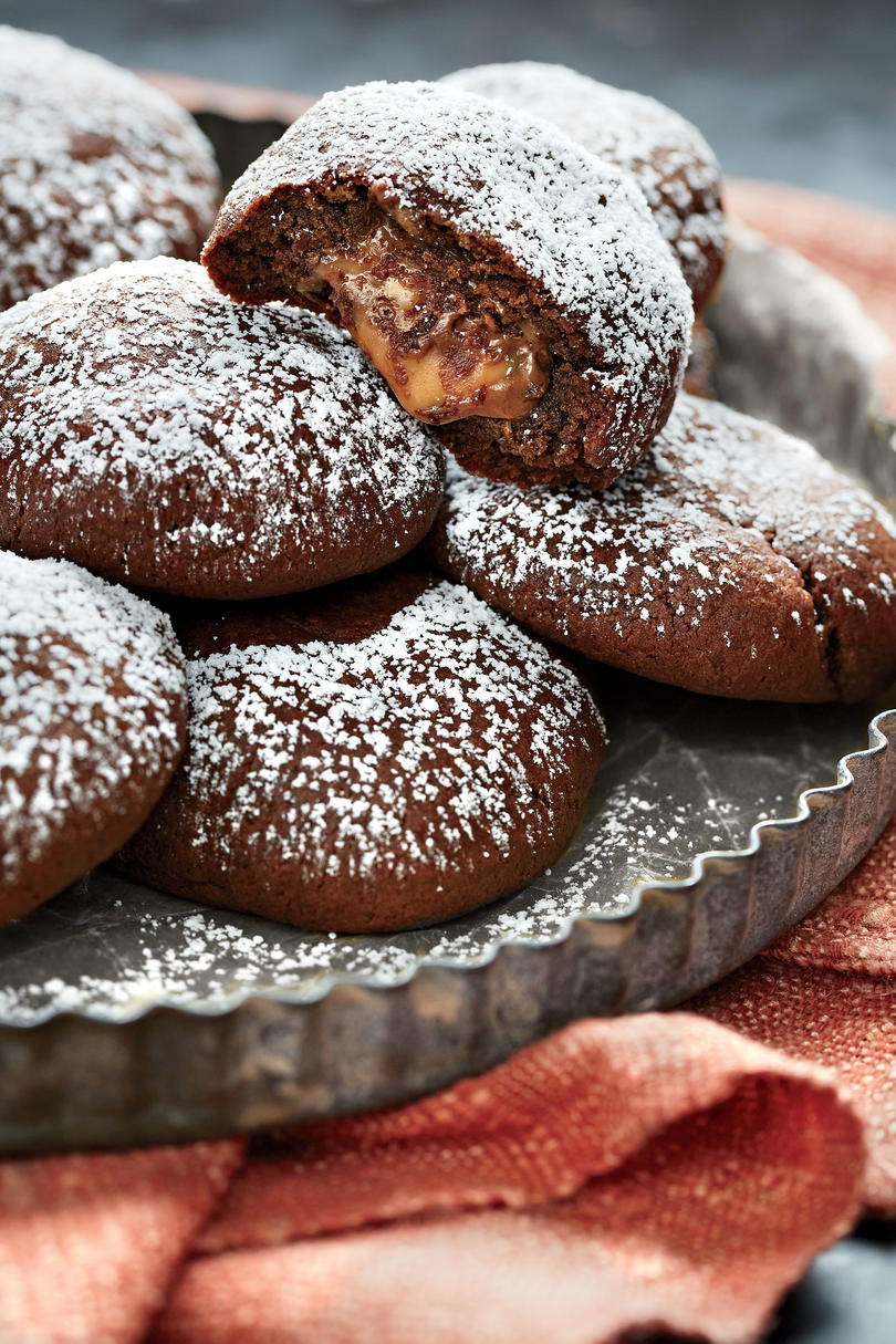 Chocolate Crinkle Candy Surprise Cookies