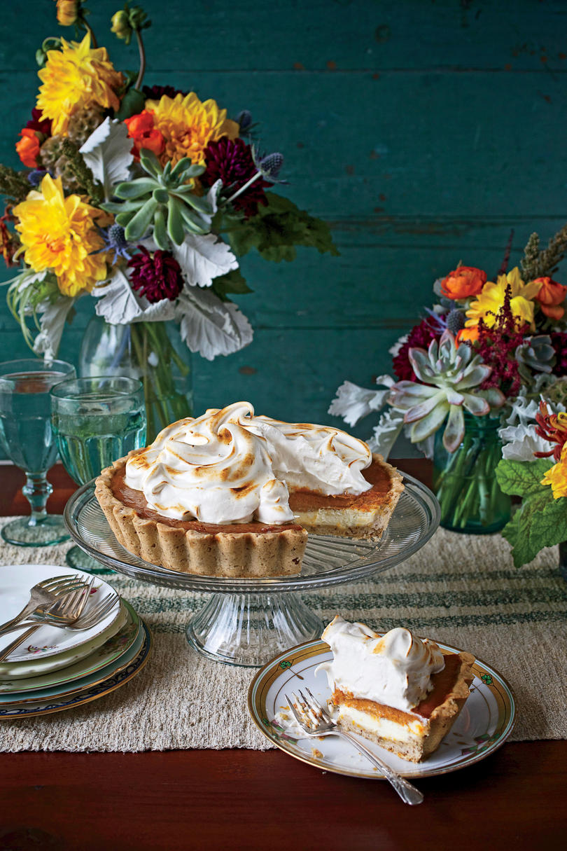 Pumpkin Cheesecake Tart with Honey Swiss Meringue