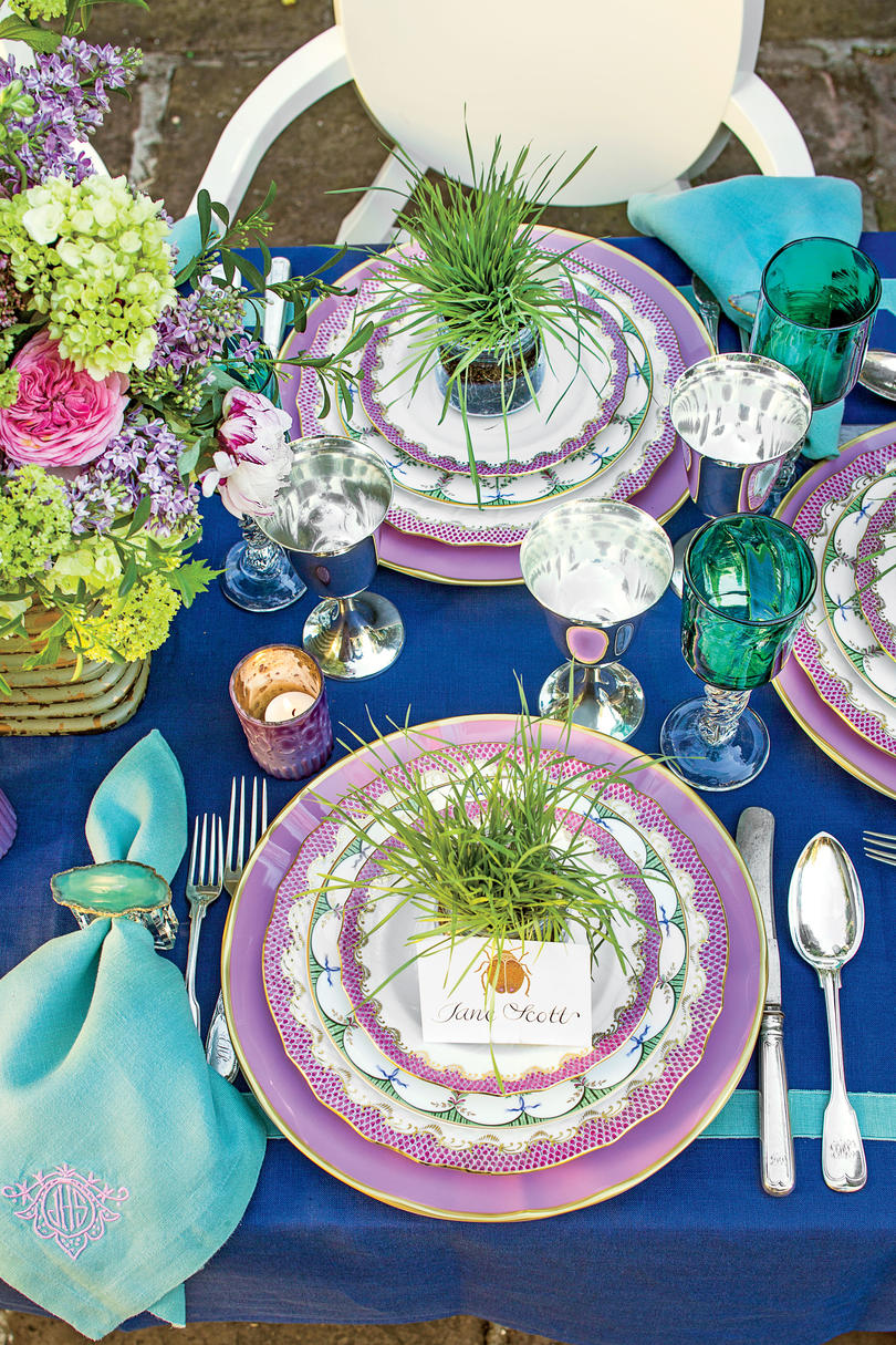 Spring table settings and centerpieces southern living purple party table solutioingenieria Gallery