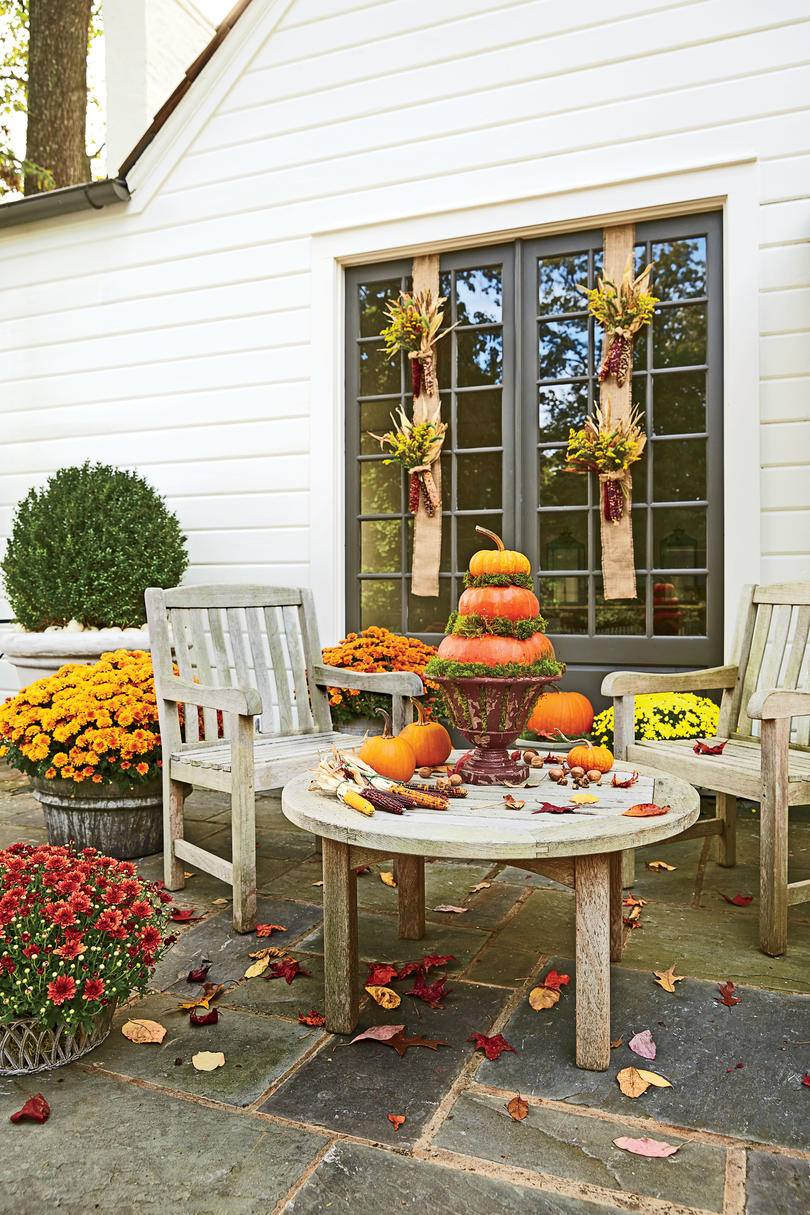 fall decorating ideas southern living spice up the patio with a harvest of decorations