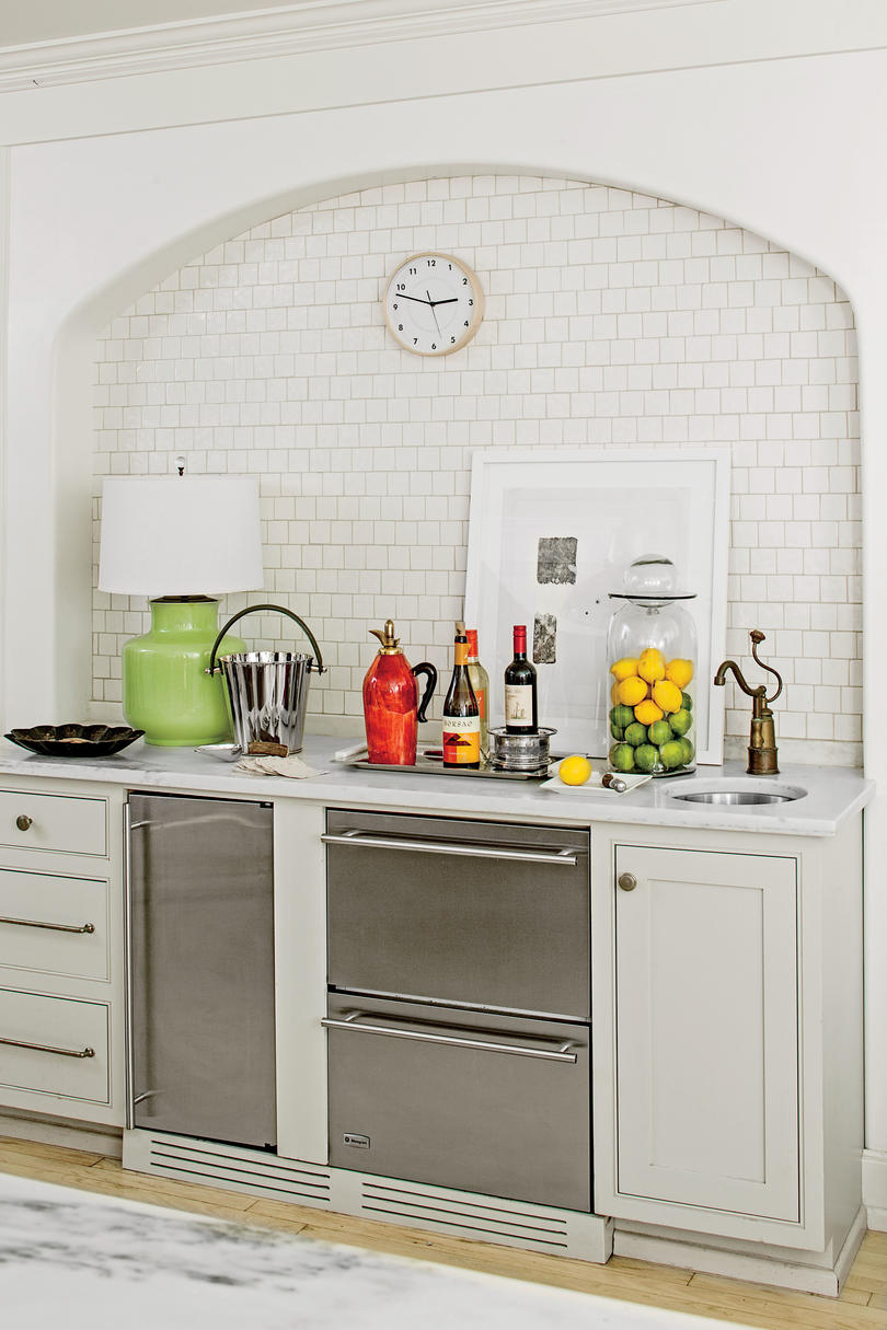 Textured Square Tile Bar Area