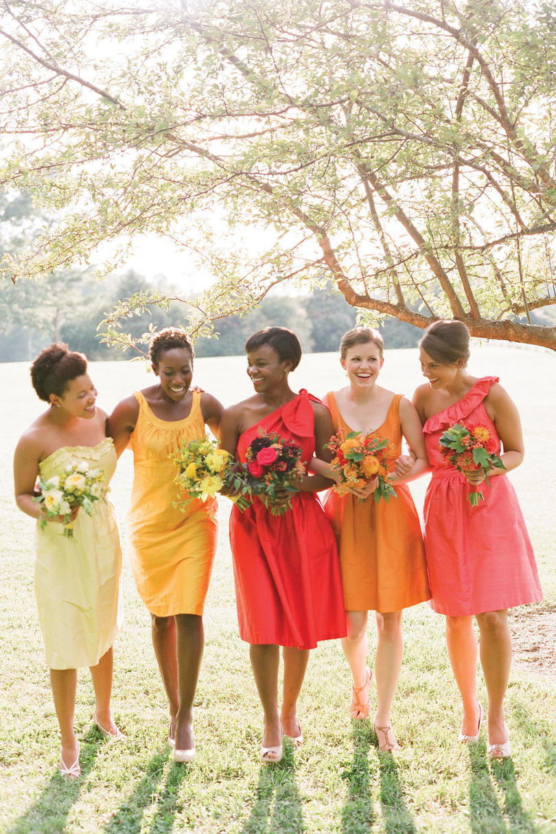 Bridesmaids' Dresses in Heirloom Shades