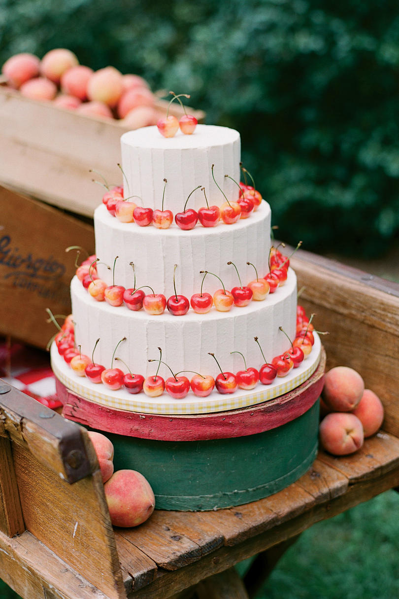 Cherry White Wedding Cake