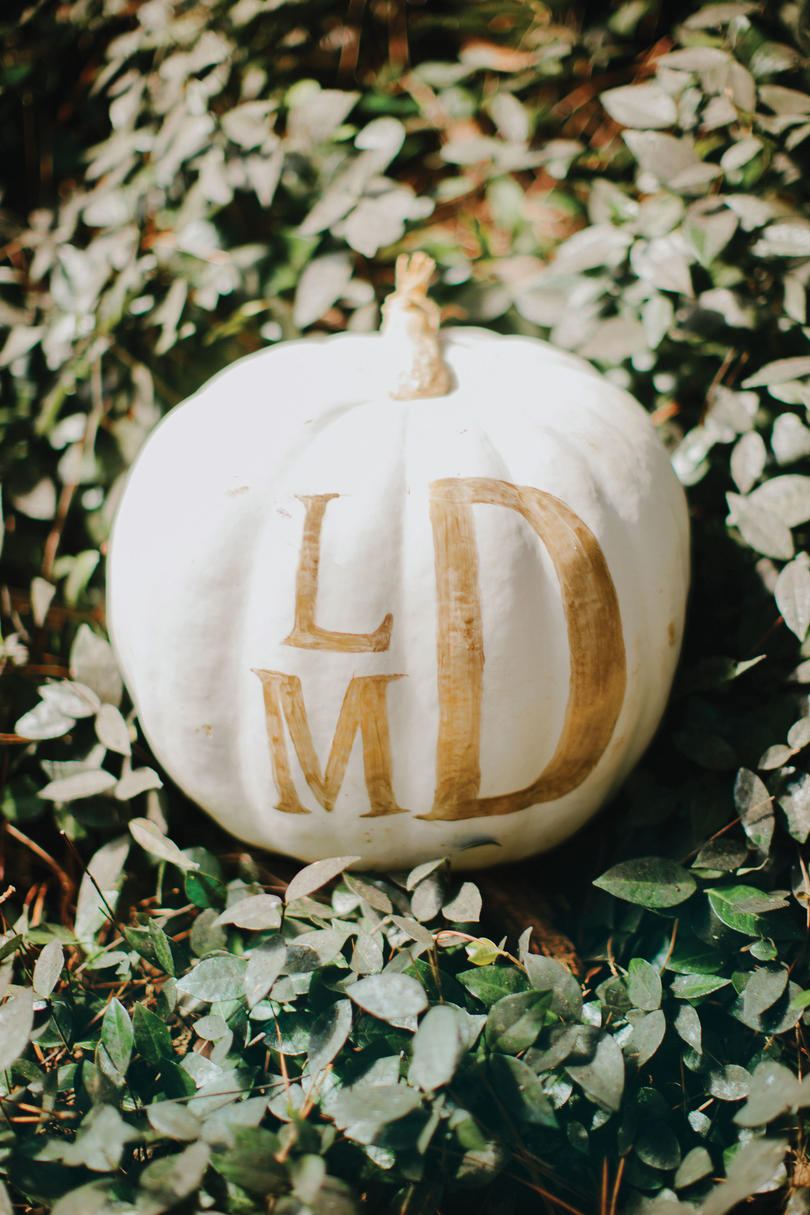 White Monogramed Pumpkin Decoration