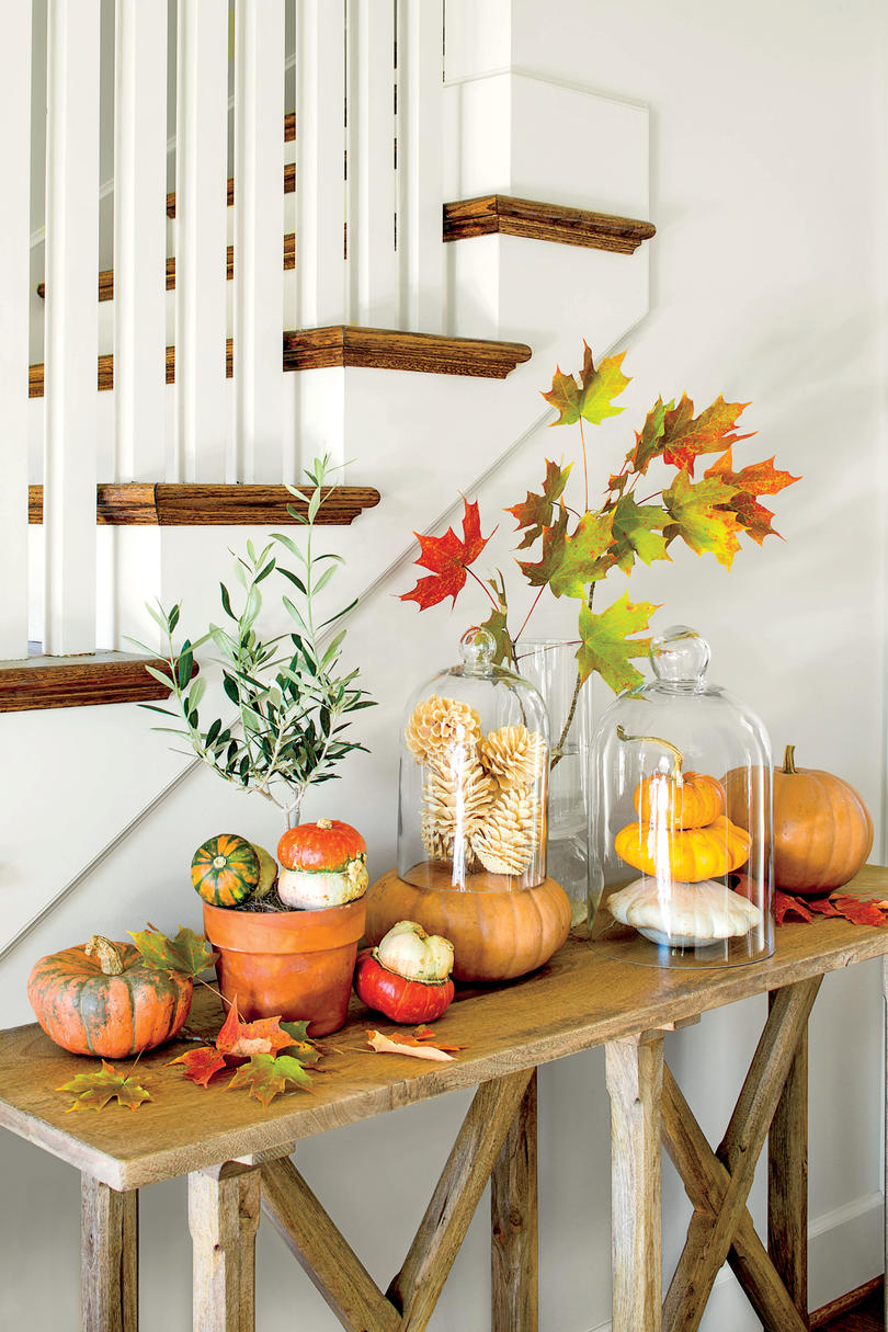 fall pumpkin tableau - Fall Kitchen Decorating Ideas