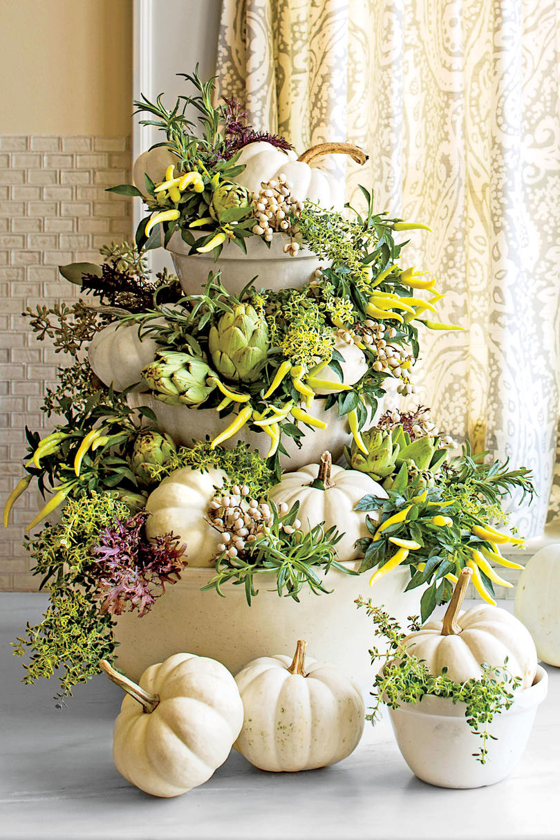 Tabletop White Pumpkin Topiary
